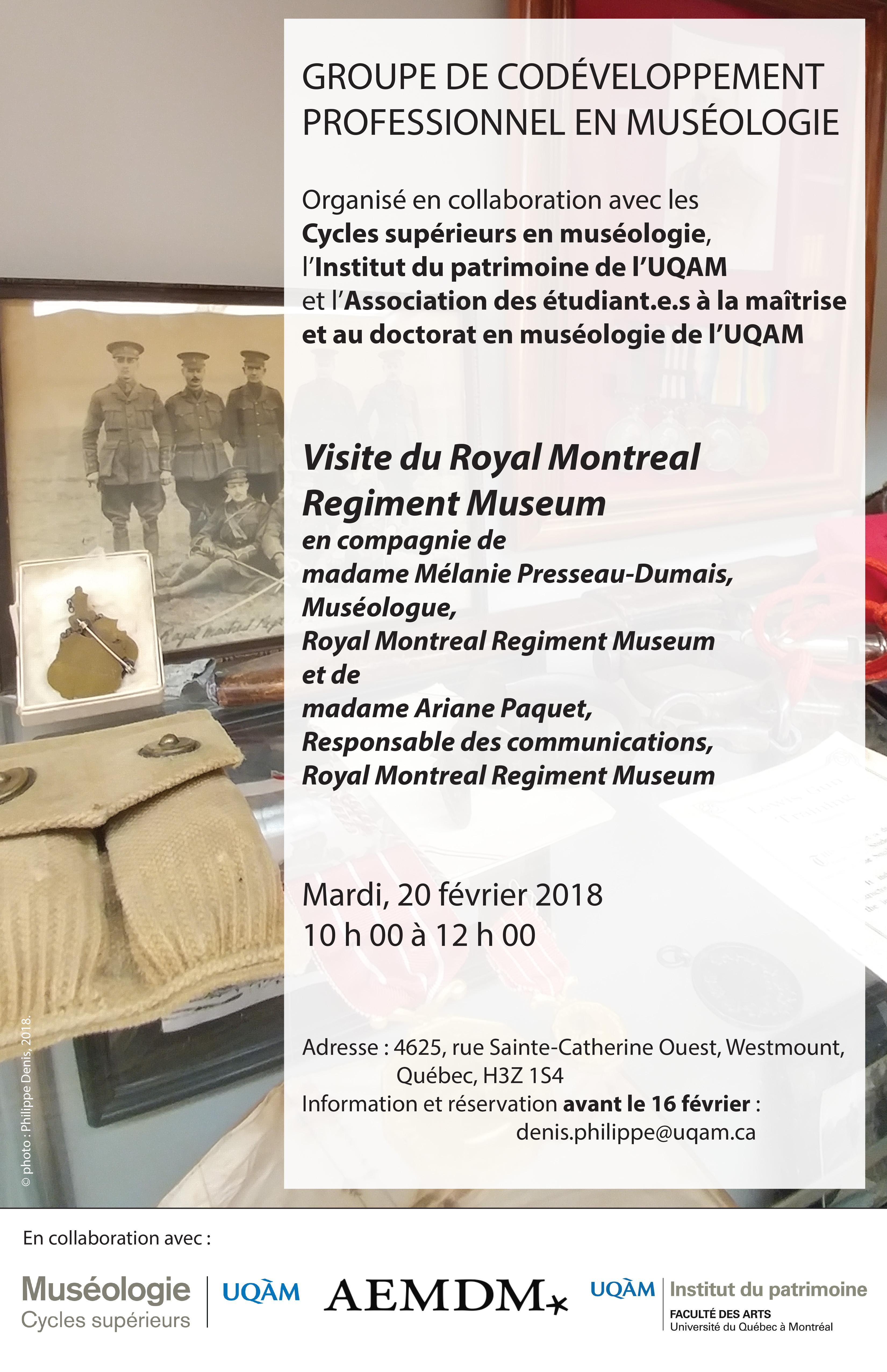 Groupe de codéveloppement professionnel en muséologie / Royal Montreal Regiment Museum