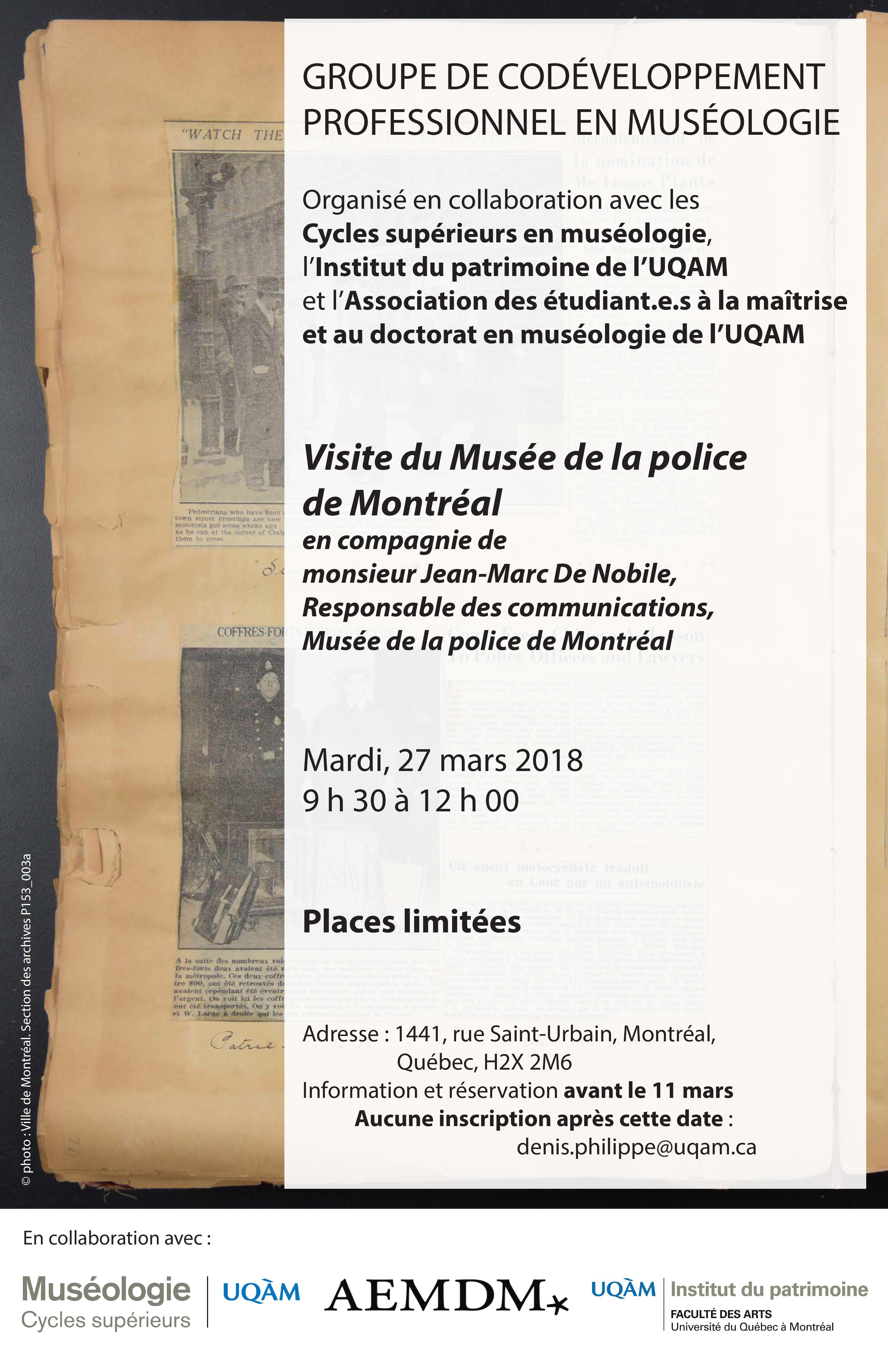 Groupe de codéveloppement professionnel en muséologie / Musée de la police de Montréal