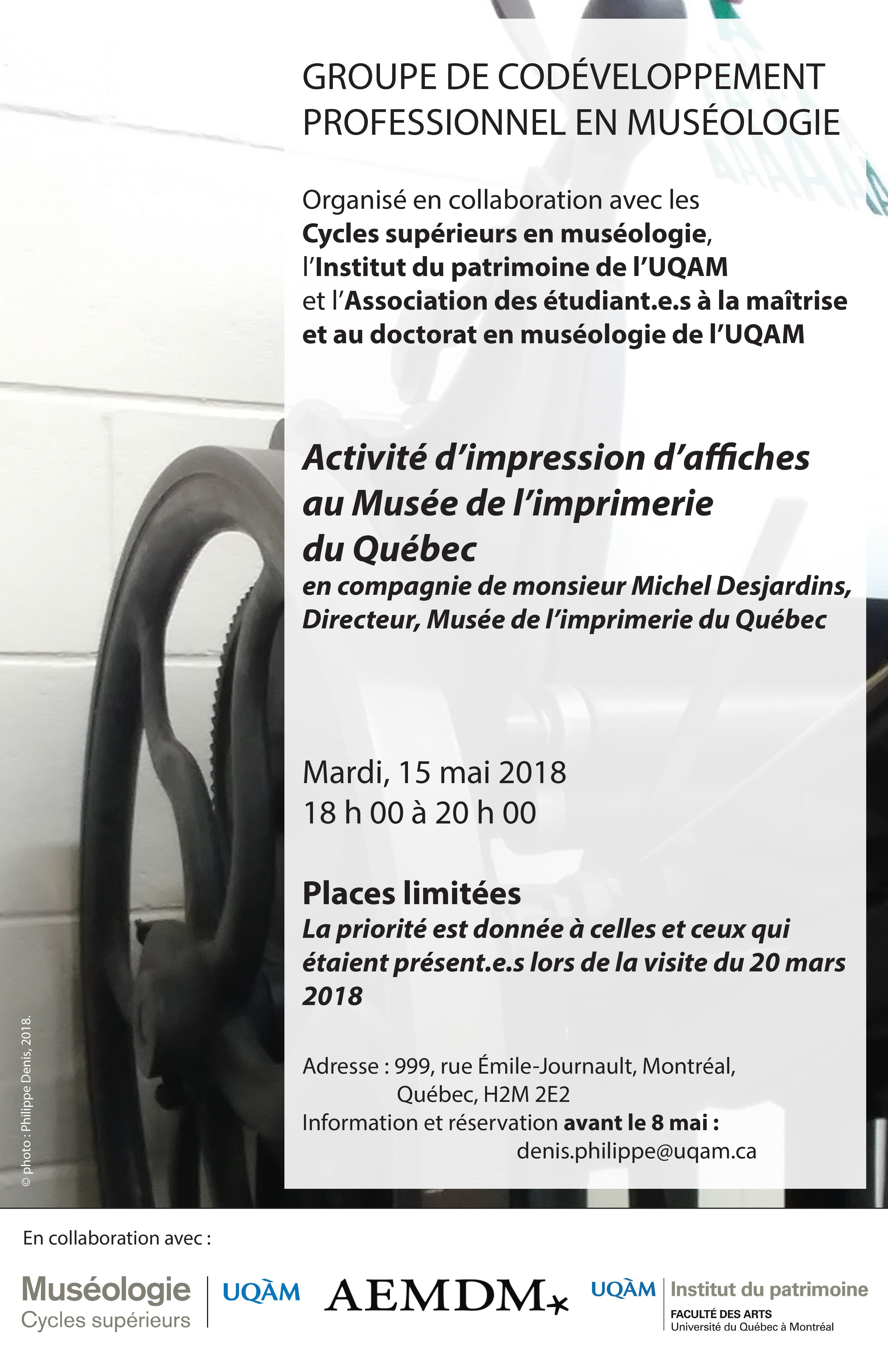 Groupe de codéveloppement en muséologie / Activité d'impression au Musée de l'imprimerie du Québec