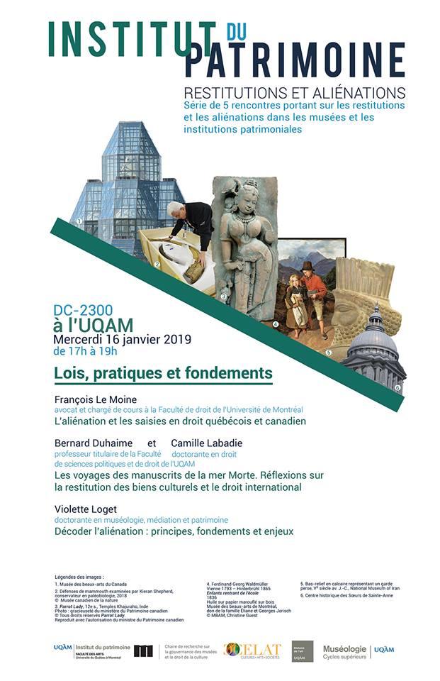 Rencontres : Restitutions et aliénations dans les musées et les institutions patrimoniales