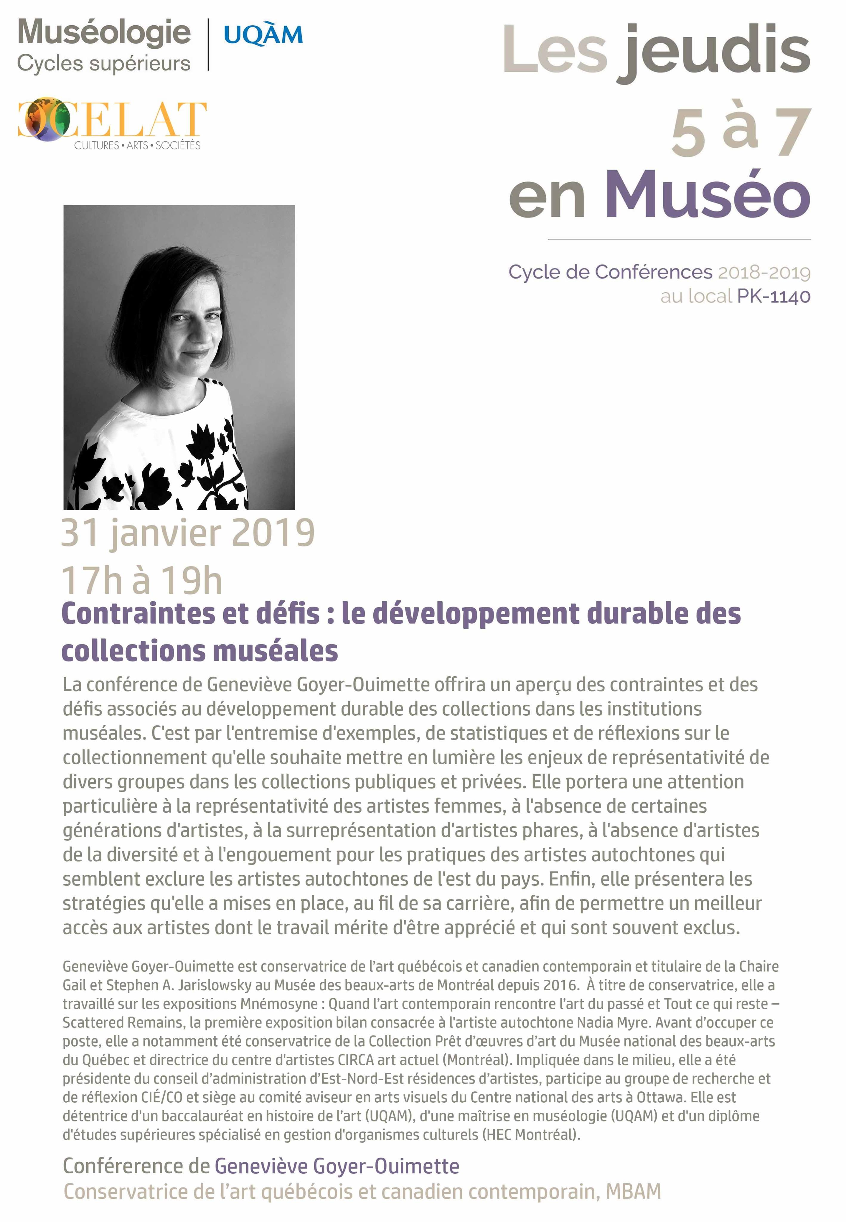 Les jeudis 5 à 7 en muséo : Geneviève Goyer-Ouimette