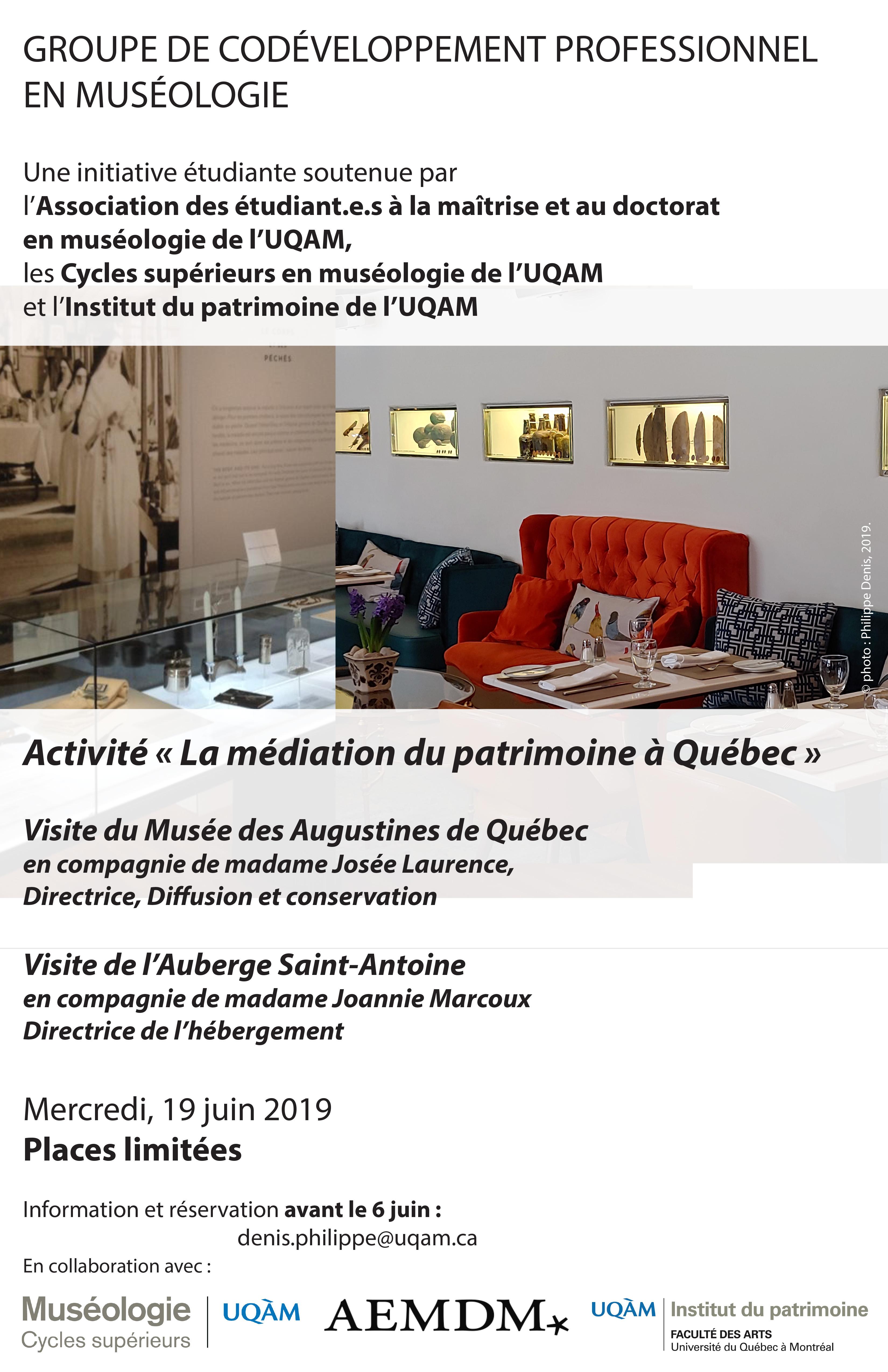 Groupe de codéveloppement professionnel en muséologie / La médiation du patrimoine à Québec