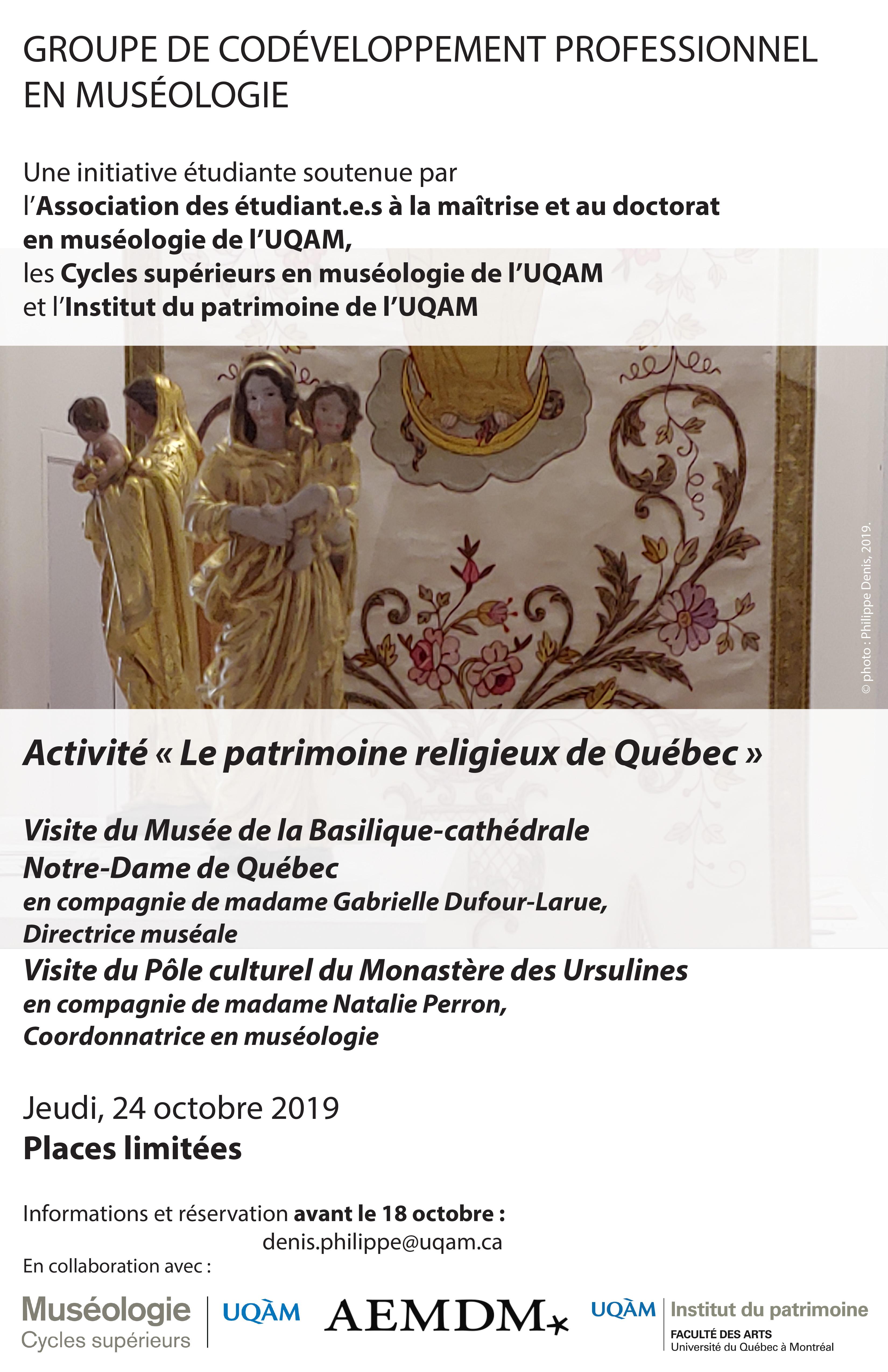 Groupe de codéveloppement professionnel en muséologie / Le patrimoine religieux à Québec