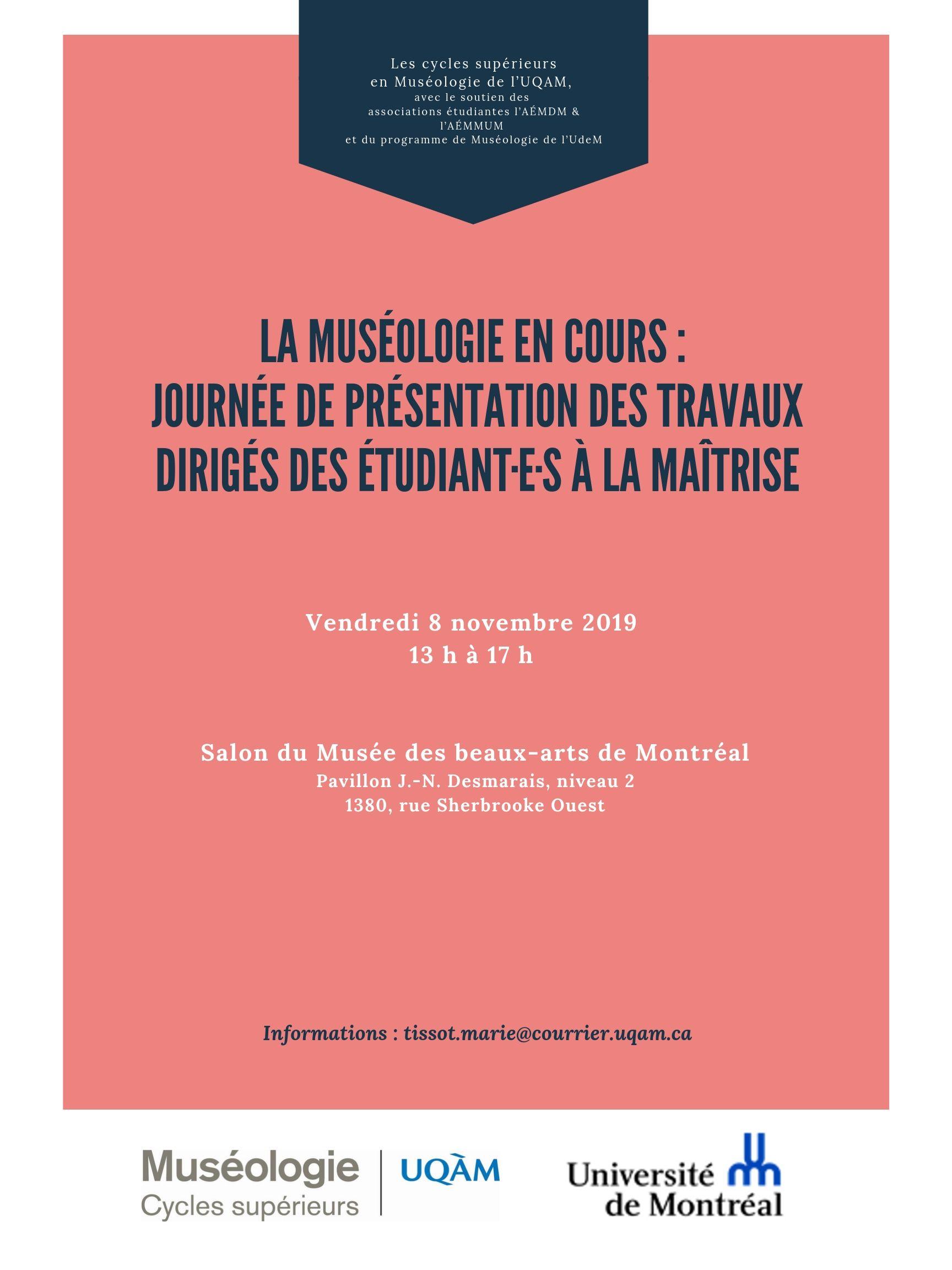 Journée d'étude de la maîtrise en muséologie