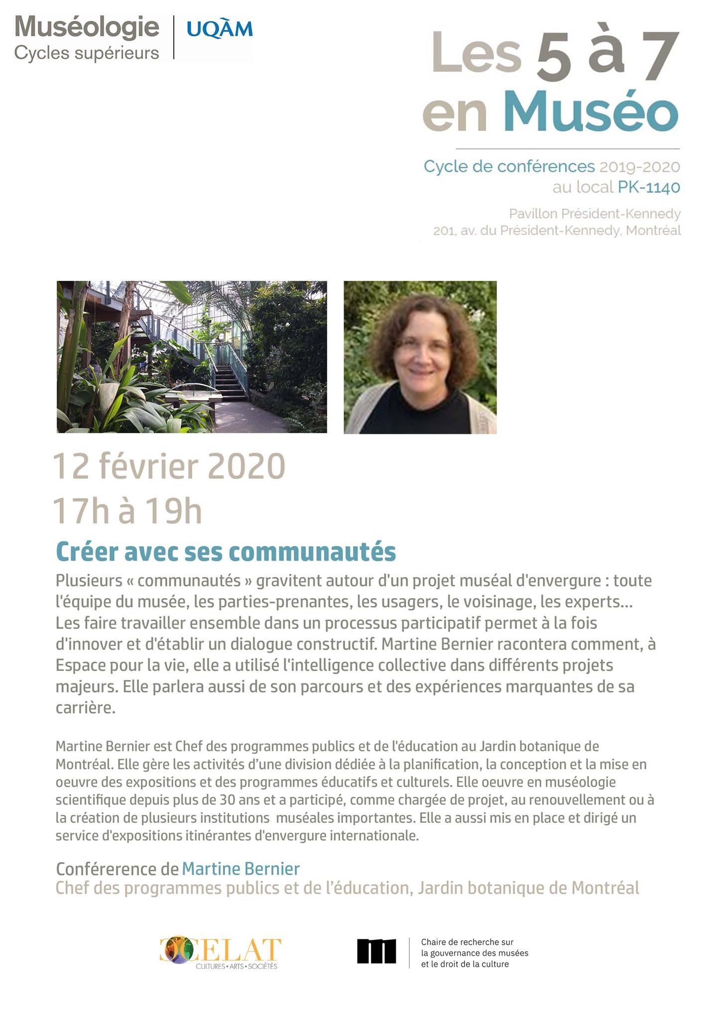 Les 5 à 7 en muséo | Martine Bernier : Créer avec ses communautés