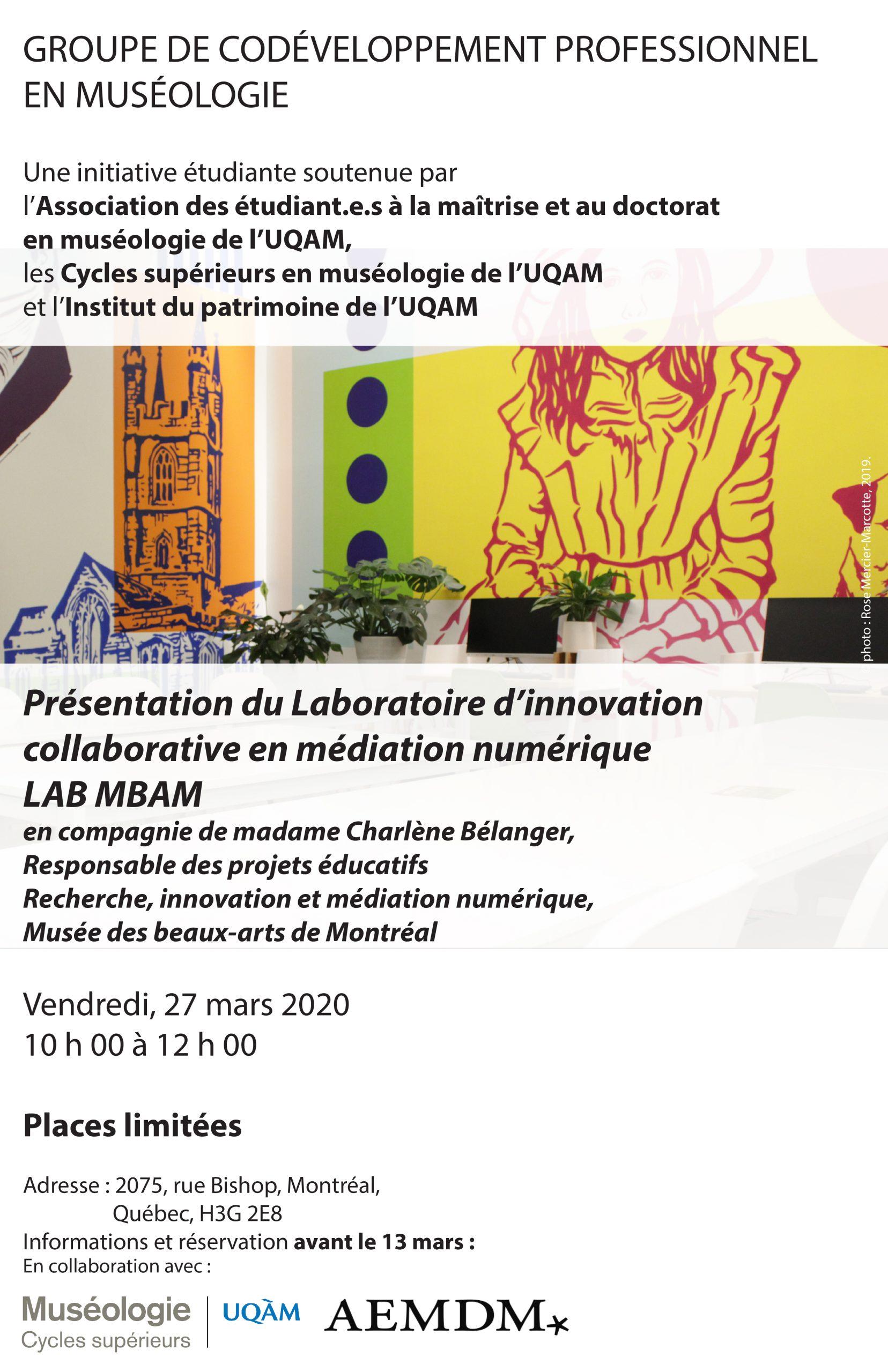 Groupe de codéveloppement professionnel en muséologie | Charlène Bélanger, Musée des beaux-arts de Montréal