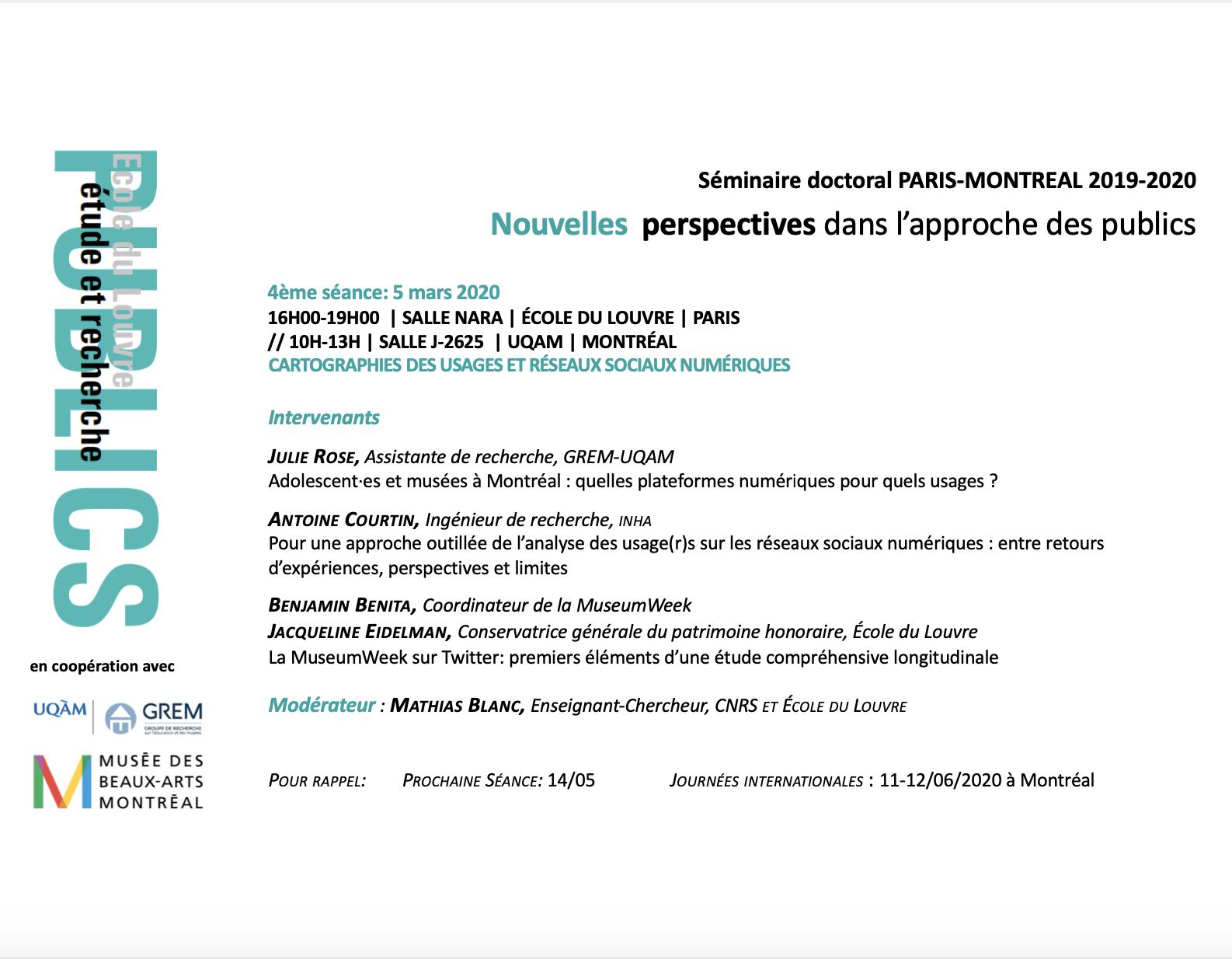 Séminaire doctoral PARIS-MONTRÉAL | Nouvelles perspectives dans l'approche des publics