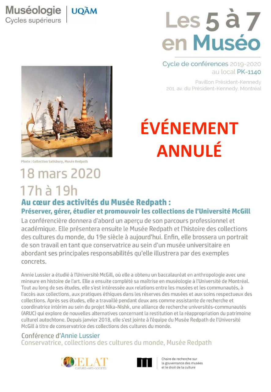 ANNULÉ – 5 à 7 en muséo | Annie Lussier, conservatriceau Musée Redpath