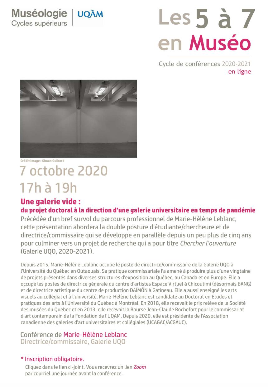 5 à 7 en muséo | Marie-Hélène Leblanc Directrice-commissaire, Galerie UQO