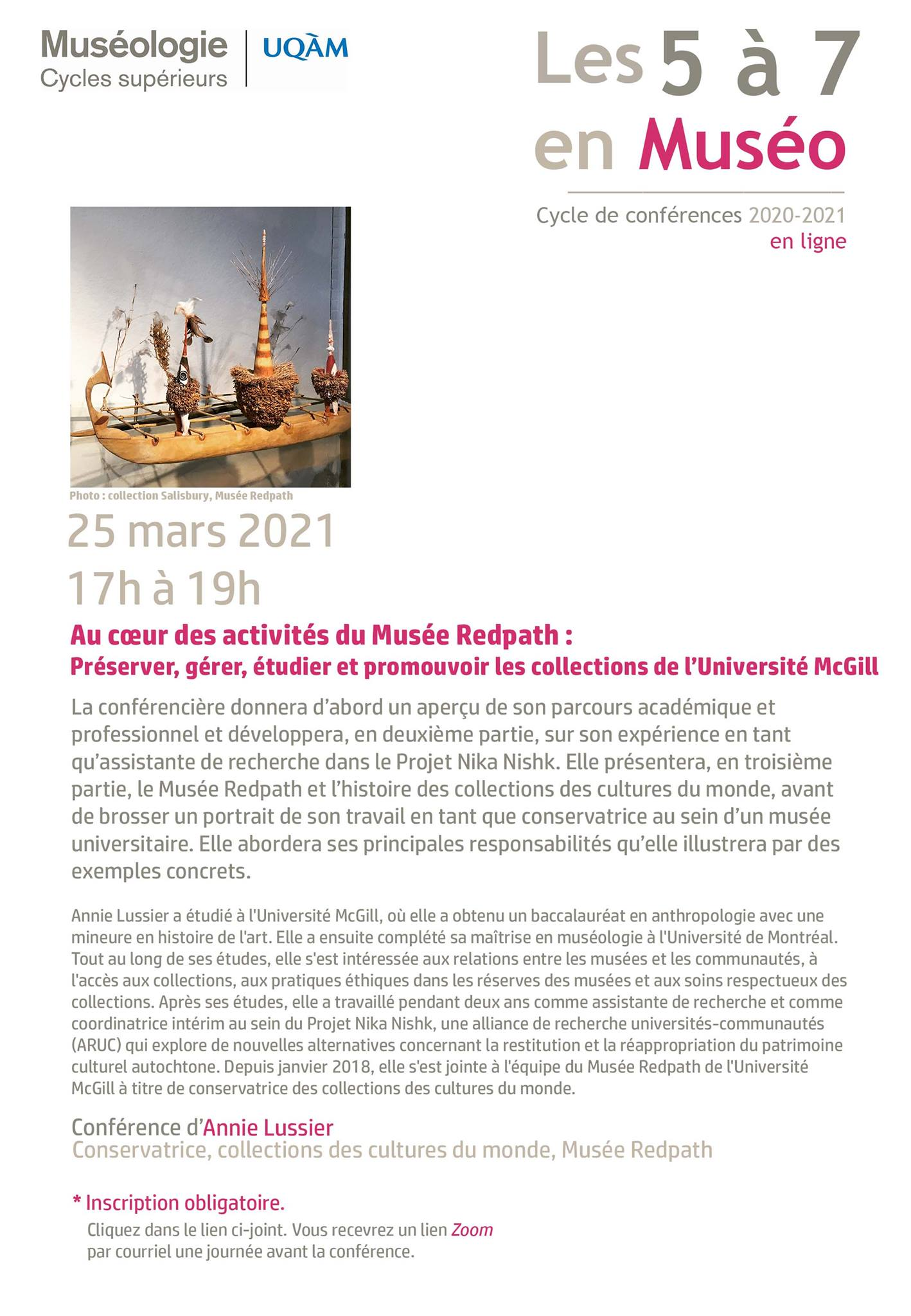 5 à 7 en muséo | Annie Lussier : Au cœur des activités du Musée Redpath